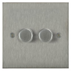 Focus SB Horizon Square Corners NHSS21.2 2 gang 2 way 250W (mains and low voltage) dimmer in Satin Stainless