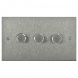 Focus SB Horizon Square Corners NHSS21.3 3 gang 2 way 250W (mains and low voltage) dimmer in Satin Stainless