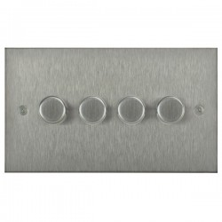 Focus SB Horizon Square Corners NHSS21.4 4 gang 2 way 250W (mains and low voltage) dimmer in Satin Stainless