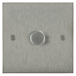 Focus SB Horizon Square Corners NHSS22.1 1 gang 2 way 400W (mains and low voltage) dimmer in Satin Stainless