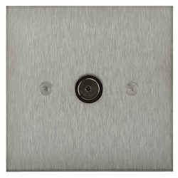 Focus SB Horizon Square Corners NHSS23.1 1 gang isolated co-axial TV socket in Satin Stainless
