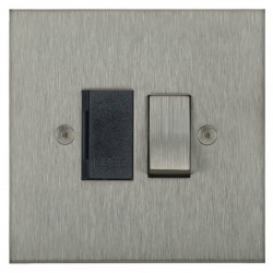 Focus SB Horizon Square Corners NHSS26.1B 13 amp switched fuse spur in Satin Stainless with black inserts