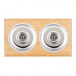 Hamilton Bloomsbury Ovolo Light Oak Plain Bright Chrome 2 Gang Intermediate Toggle with White Insert