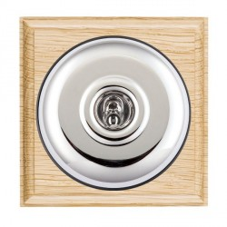 Hamilton Bloomsbury Ovolo Light Oak Plain Bright Chrome 1 Gang Double Pole Toggle with Black Insert