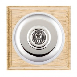 Hamilton Bloomsbury Ovolo Light Oak Plain Bright Chrome 1 Gang Double Pole Toggle with White Insert