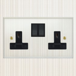 Focus SB Prism P17.2B 2 gang 13 amp switched socket, with plastic switches in Clear Acrylic with black in...