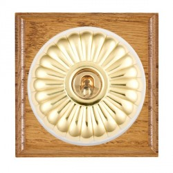 Hamilton Bloomsbury Ovolo Medium Oak Fluted Polished Brass 1 Gang 2 Way Toggle with White Insert