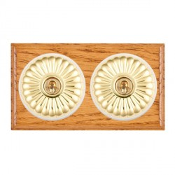 Hamilton Bloomsbury Ovolo Medium Oak Fluted Polished Brass 2 Gang 2 Way Toggle with White Insert