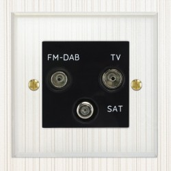 Focus SB Prism P80.3B triplex TV/FM/Satellite outlet in Clear Acrylic with black inserts