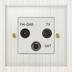 Focus SB Prism P80.3W triplex TV/FM/Satellite outlet in Clear Acrylic with white inserts