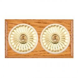 Hamilton Bloomsbury Ovolo Medium Oak Fluted Polished Brass 2 Gang Intermediate Toggle with White Insert