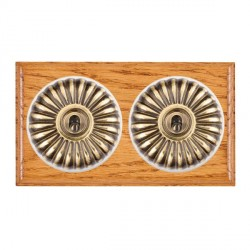 Hamilton Bloomsbury Ovolo Medium Oak Fluted Antique Brass 2 Gang 2 Way Toggle with White Insert