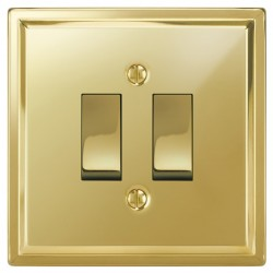 Focus SB Sheraton SPB11.2 2 gang 20 amp 2 way rocker switch in Polished Brass