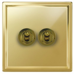 Focus SB Sheraton SPB14.2 2 gang 20 amp 2 way toggle switch in Polished Brass
