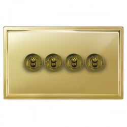 Focus SB Sheraton SPB14.4 4 gang 20 amp 2 way toggle switch in Polished Brass