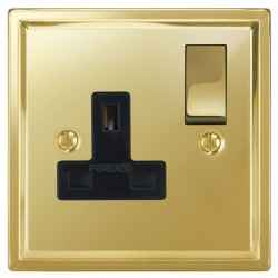 Focus SB Sheraton SPB18.1B 1 gang 13 amp switched socket in Polished Brass with black inserts