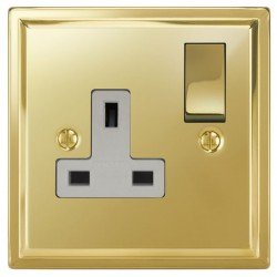 Focus SB Sheraton SPB18.1W 1 gang 13 amp switched socket in Polished Brass with white inserts