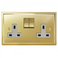 Focus SB Sheraton SPB18.2W 2 gang 13 amp switched socket in Polished Brass with white inserts