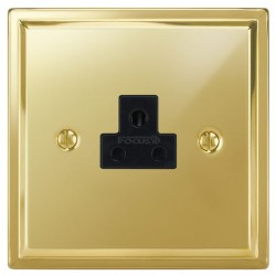 Focus SB Sheraton SPB19.1B 1 gang 2 amp unswitched socket in Polished Brass with black inserts