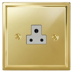 Focus SB Sheraton SPB19.1W 1 gang 2 amp unswitched socket in Polished Brass with white inserts