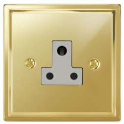 Focus SB Sheraton SPB20.1W 1 gang 5 amp unswitched socket in Polished Brass with white inserts