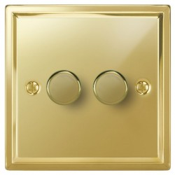Focus SB Sheraton SPB21.2 2 gang 2 way 250W (mains and low voltage) dimmer in Polished Brass