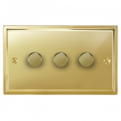 Focus SB Sheraton SPB21.3 3 gang 2 way 250W (mains and low voltage) dimmer in Polished Brass