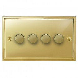 Focus SB Sheraton SPB21.4 4 gang 2 way 250W (mains and low voltage) dimmer in Polished Brass