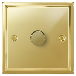 Focus SB Sheraton SPB22.1 1 gang 2 way 400W (mains and low voltage) dimmer in Polished Brass