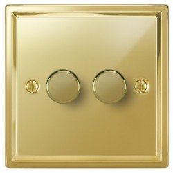 Focus SB Sheraton SPB22.2 2 gang 2 way 400W (mains and low voltage) dimmer in Polished Brass