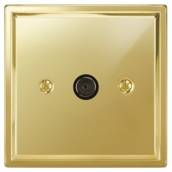 Focus SB Sheraton SPB23.1 1 gang isolated co-axial TV socket in Polished Brass