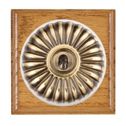 Hamilton Bloomsbury Ovolo Medium Oak Fluted Antique Brass 1 Gang Double Pole Toggle with White Insert