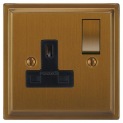 Focus SB Sheraton SBA18.1B 1 gang 13 amp switched socket in Bronze Antique with black inserts
