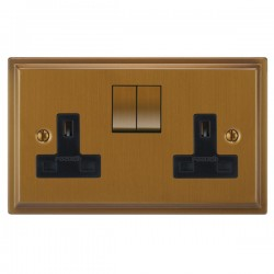 Focus SB Sheraton SBA18.2B 2 gang 13 amp switched socket in Bronze Antique with black inserts