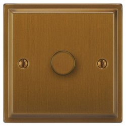 Focus SB Sheraton SBA21.1 1 gang 2 way 250W (mains and low voltage) dimmer in Bronze Antique