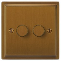 Focus SB Sheraton SBA21.2 2 gang 2 way 250W (mains and low voltage) dimmer in Bronze Antique