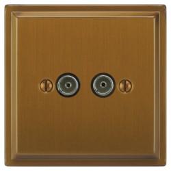Focus SB Sheraton SBA23.2 2 gang isolated co-axial TV socket in Bronze Antique