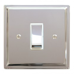 Focus SB Sheraton SPC11.1W 1 gang 20 amp 2 way rocker switch in Polished Chrome with white inserts