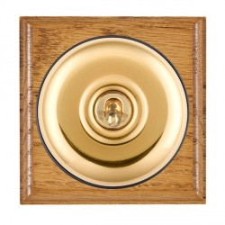 Hamilton Bloomsbury Ovolo Medium Oak Plain Polished Brass 1 Gang Double Pole Toggle with Black Insert
