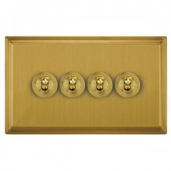 Focus SB Sheraton SSB14.4 4 gang 20 amp 2 way toggle switch in Satin Brass