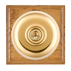 Hamilton Bloomsbury Ovolo Medium Oak Plain Polished Brass 1 Gang Double Pole Toggle with White Insert