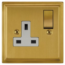 Focus SB Sheraton SSB18.1W 1 gang 13 amp switched socket in Satin Brass with white inserts