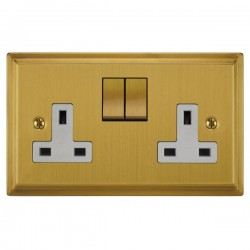 Focus SB Sheraton SSB18.2W 2 gang 13 amp switched socket in Satin Brass with white inserts