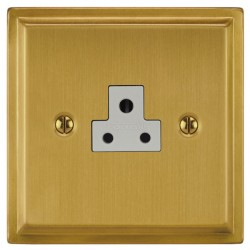 Focus SB Sheraton SSB19.1W 1 gang 2 amp unswitched socket in Satin Brass with white inserts