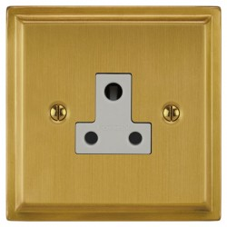 Focus SB Sheraton SSB20.1W 1 gang 5 amp unswitched socket in Satin Brass with white inserts