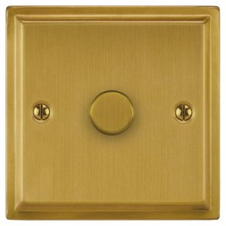 Focus SB Sheraton SSB21.1 1 gang 2 way 250w (mains and low voltage) dimmer in Satin Brass