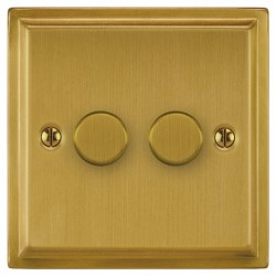 Focus SB Sheraton SSB21.2 2 gang 2 way 250W (mains and low voltage) dimmer in Satin Brass