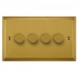 Focus SB Sheraton SSB21.4 4 gang 2 way 250W (mains and low voltage) dimmer in Satin Brass