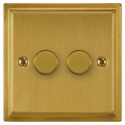 Focus SB Sheraton SSB22.2 2 gang 2 way 400W (mains and low voltage) dimmer in Satin Brass