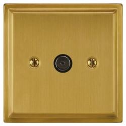 Focus SB Sheraton SSB23.1 1 gang isolated co-axial TV socket in Satin Brass